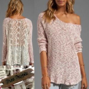 Free People Lace Back Pullover Sweater XS